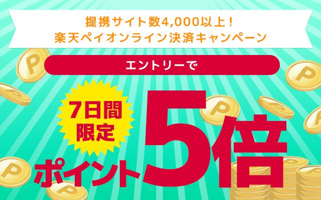 7日間限定!エントリー&楽天ペイ(オンライン決済)をご利用でポイント5倍キャンペーン 楽天ペイの初めてのご利用&エントリーで 期間中3000円以上の購入で300ポイントもらえる